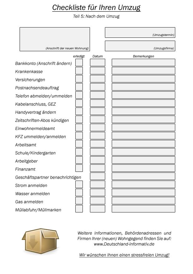 Checkliste: Nach dem Umzug